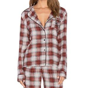 NWT Wildfox Plaid Pajama Top